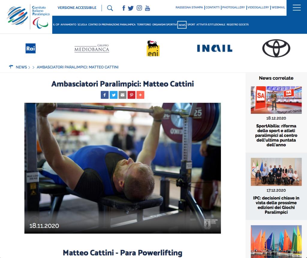 Matteo Cattini Atleta Paralimpico Capitano Nazionale Italiana Pesistica Paralimpica
